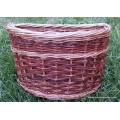 Front bike basket in buff and red willow