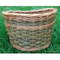 Front bike basket in buff and green willow