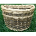 Front bike basket in white and green willow