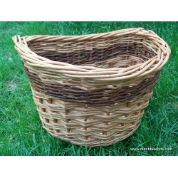Front bike basket in buff with red stripe