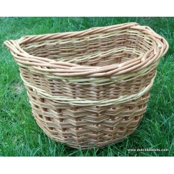 Front bike basket in buff with white stripe