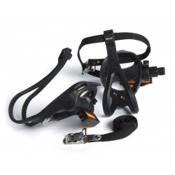 Racing pedals with toeclips and straps