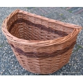 Bike basket for Brompton bicycle in Buff and Red willow