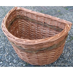 Bike basket for Brompton bicycle in Buff and Green willow