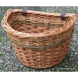 Front bike basket in buff with green stripe